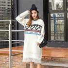 Printed Fringed Sweater Dress