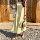 Linen Blend Flared Long Pinafore Dress Yellow - One Size