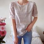 Lace-cuff Patterned Top