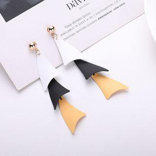Alloy Triangle Dangle Earring 1 Pair - 925 Sterling Silver Needle - Yellow & White - One Size