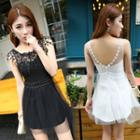 Lace Trim Mesh Sleeveless A-line Dress
