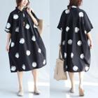 Short-sleeve Dotted Oversized Dress