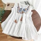 Embroidered Sleeveless A-line Dress White - One Size