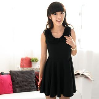 Faux Fur Collar Sleeveless Dress