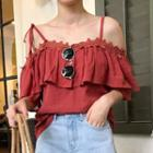Short-sleeve Cold Shoulder Ruffle Top