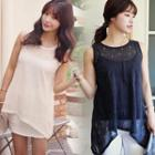 Sleeveless Perforated Knit Top
