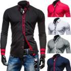 Contrast Trim Long Sleeve Shirt