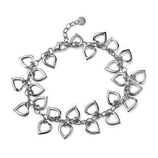 Left Right Accessory - 925 Sterling Silver Hollow Heart Chain Bracelet (6.5) Women Jewellery