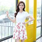 Short-sleeve Printed Ruffled Dress