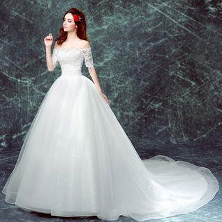 Elbow-sleeve Long Train Wedding Dress