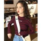 Long-sleeve Lettering Embroidered Crop Top