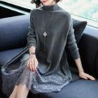 Lace Panel Mock-neck Knit Dress