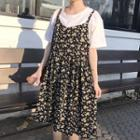 Floral Print Sleeveless Smock Dress