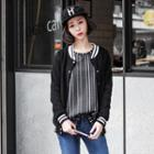 Vertical Striped Drop Long Sleeved Top