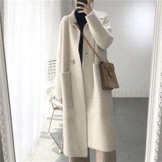 Single Breast Long Coat Off-white - One Size