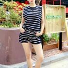 Set: Striped Tank Top + Shorts Navy Blue - One Size