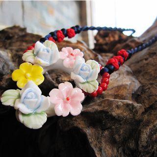 Ceramic Floral Statement Necklace