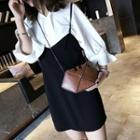 Faux Leather Chain Strap Hexagon Shoulder Bag