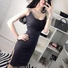 Strappy Side-slit Mini Knit Sheath Dress