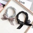 Bow Accent Beaded Hair Tie