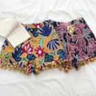 Bobble Trim Floral Print Shorts