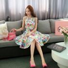 Set: Sleeveless Floral Top + Skirt