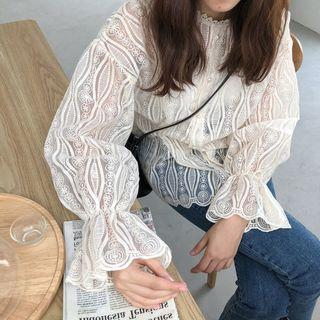Set: Lace Shirt + Camisole Top White - One Size