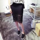 Lace Hem Midi Skirt