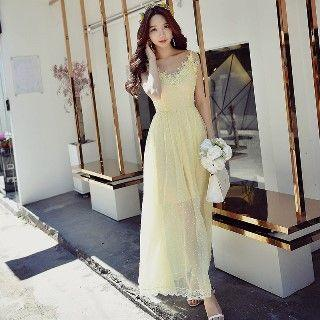 Lace-trim Maxi Dress
