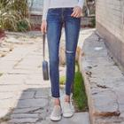 Slit-detail Washed Skinny Jeans