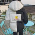 Colorblock Printed Hooded Padded Jacket