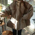 Plain Drawstring Coat