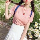 Short-sleeve Strawberry Embroidered T-shirt