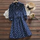 Long-sleeve Cat Print Collared A-line Dress