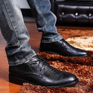 Genuine Leather Croc-grain Oxford Shoes