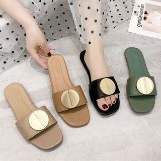 Metal Circle Faux Leather Slide Sandals