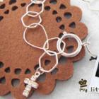 Silver Bracelet With Shiny Cross Pendant