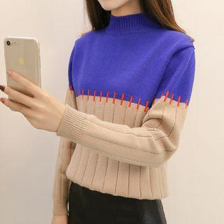 Color Block Stitched Knit Top