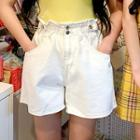 Ruffled Band-waist Stitched Shorts
