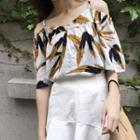 Elbow-sleeve Cutout Printed Top / A-line Skirt