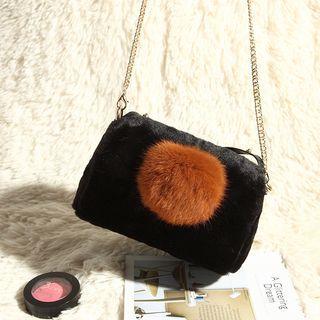 Pompom-accent Faux-fur Cross Bag