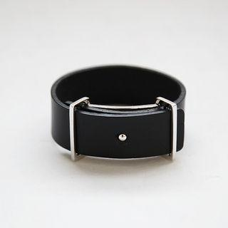 Buckled Faux-leather Bangle