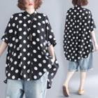 Dotted Shorts-sleeve Blouse Black - One Size