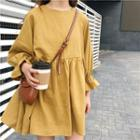 Plain Long Sleeve Shift Dress