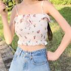 Floral Camisole Top Light Blue - One Size