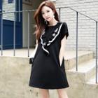 Short-sleeve Lettering Ruffled Dress