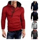 Lettering Zip Detail Hooded Sweatshirt