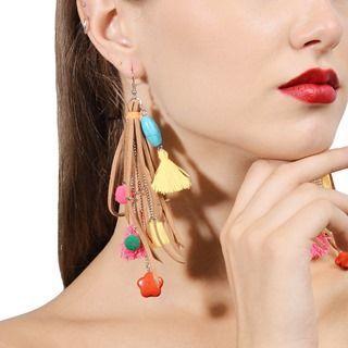 Bobble Star Tasseled Earrings