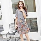 Ruffle Tie-front Floral Panel Chiffon Dress