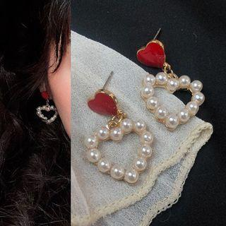 Faux Pearl Heart Drop Earring 0146a# - 1 Pair - Classic Earrings - Red & White - One Size